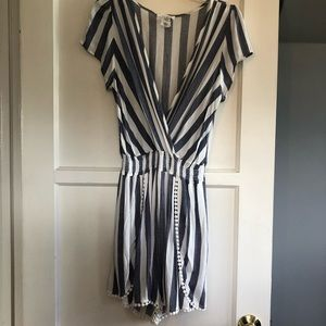 Striped romper with elastic waist